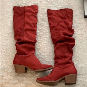 Qupid Red Suede Boots, Size 7